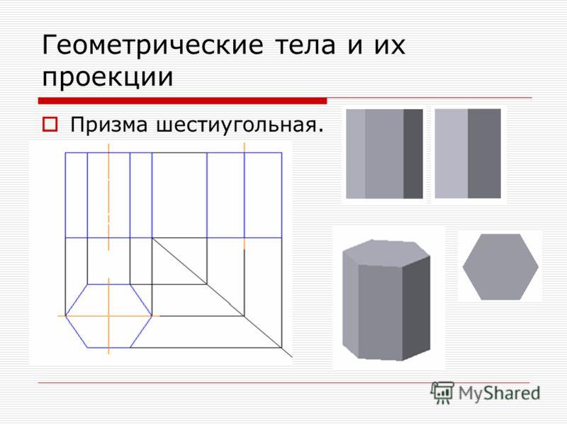 Геометрические тела и их проекции Призма шестиугольная.