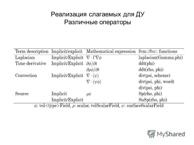 Реализация слагаемых для ДУ Различные операторы