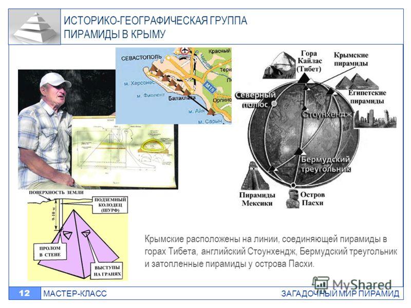 МАСТЕР-КЛАСС ЗАГАДОЧНЫЙ МИР ПИРАМИД 12 ИСТОРИКО-ГЕОГРАФИЧЕСКАЯ ГРУППА ПИРАМИДЫ В КРЫМУ Крымские расположены на линии, соединяющей пирамиды в горах Тибета, английский Стоунхендж, Бермудский треугольник и затопленные пирамиды у острова Пасхи.