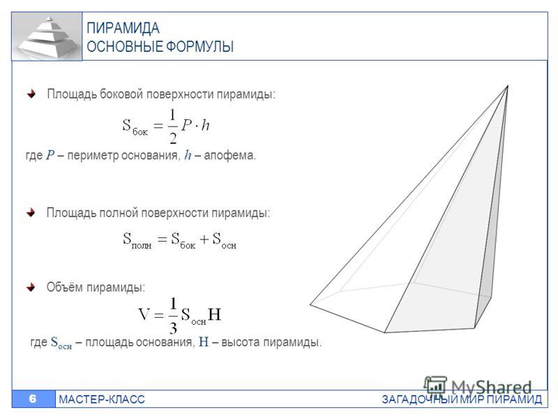 МАСТЕР-КЛАСС ЗАГАДОЧНЫЙ МИР ПИРАМИД 6 ПИРАМИДА ОСНОВНЫЕ ФОРМУЛЫ Площадь полной поверхности пирамиды: Площадь боковой поверхности пирамиды: где P – периметр основания, h – апофема. Объём пирамиды: где S осн – площадь основания, H – высота пирамиды.