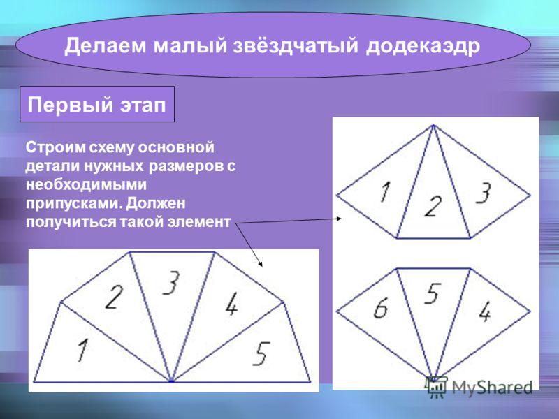 Первый этап Строим схему основной детали нужных размеров с необходимыми припусками. Должен получиться такой элемент Делаем малый звёздчатый додекаэдр