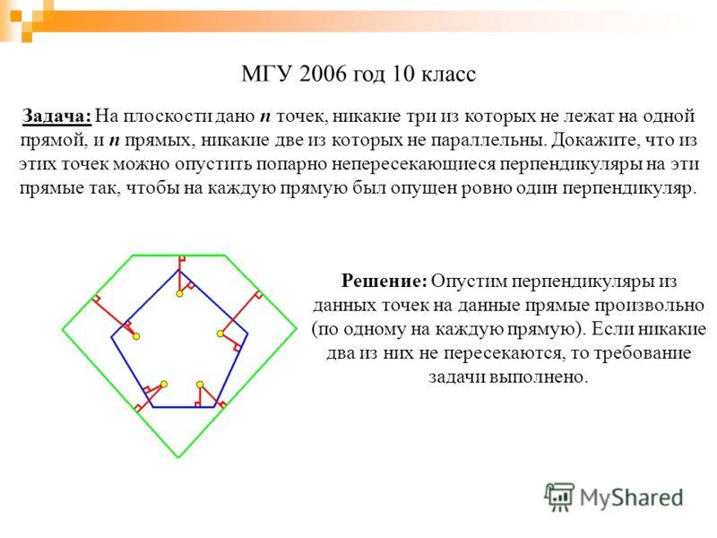МГУ 2006 год 10 класс Решение: Опустим перпендикуляры из данных точек на данные прямые произвольно (по одному на каждую прямую). Если никакие два из них не пересекаются, то требование задачи выполнено. Задача: На плоскости дано n точек, никакие три и