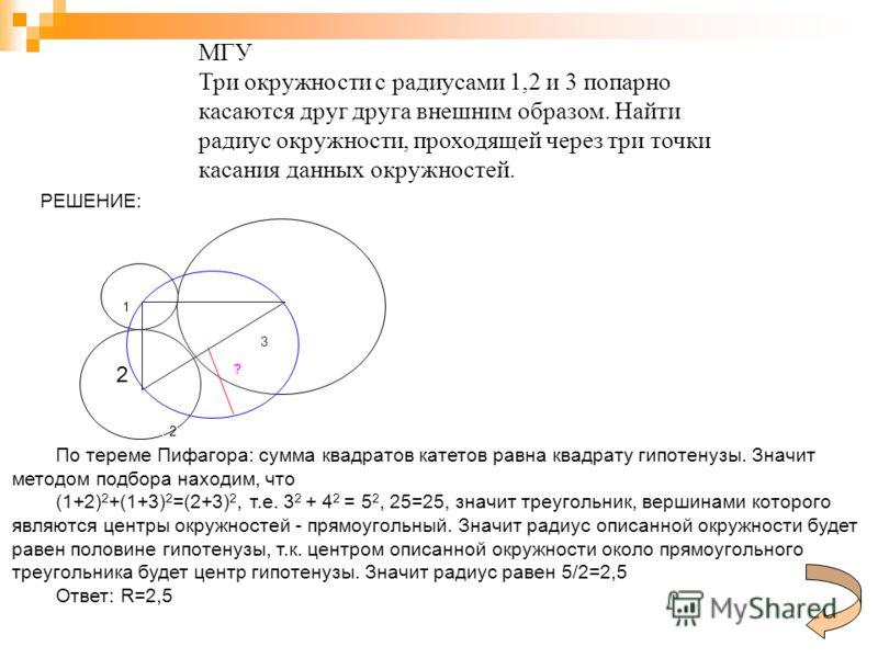 2 3 1 2 ? МГУ Три окружности с радиусами 1,2 и 3 попарно касаются друг друга внешним образом. Найти радиус окружности, проходящей через три точки касания данных окружностей. РЕШЕНИЕ: По тереме Пифагора: сумма квадратов катетов равна квадрату гипотену