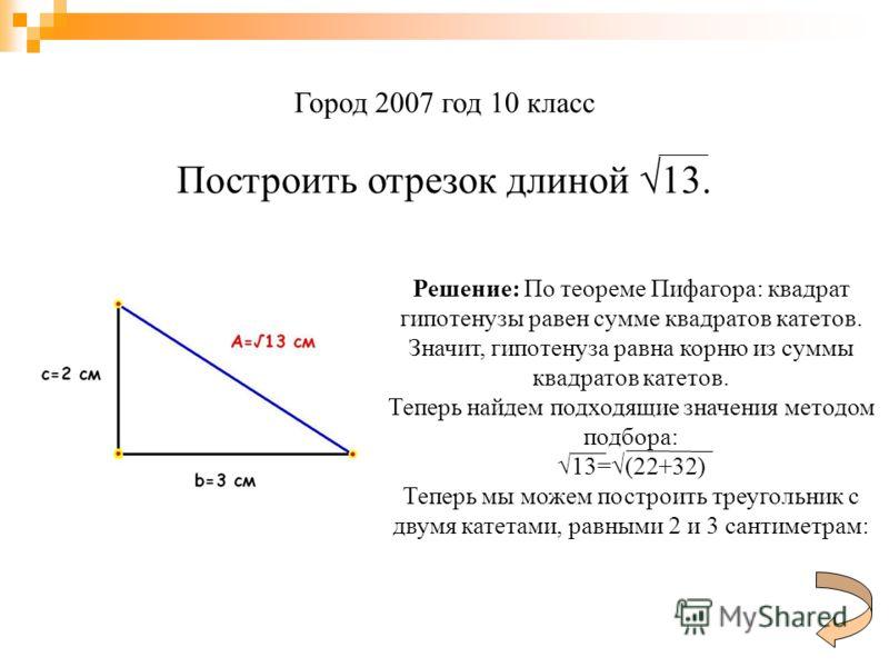 Город 2007 год 10 класс Построить отрезок длиной 13. Решение: По теореме Пифагора: квадрат гипотенузы равен сумме квадратов катетов. Значит, гипотенуза равна корню из суммы квадратов катетов. Теперь найдем подходящие значения методом подбора: 13=(22+