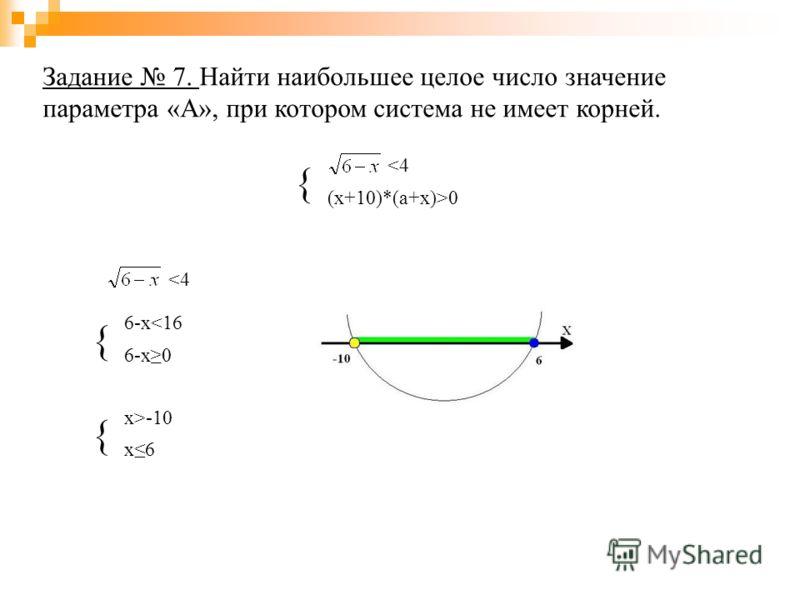Задание 7. Найти наибольшее целое число значение параметра «А», при котором система не имеет корней. { 0