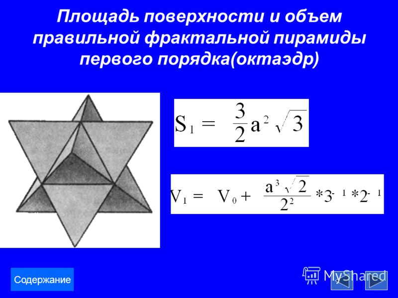 Площадь поверхности и объем правильной фрактальной пирамиды первого порядка(октаэдр) Содержание