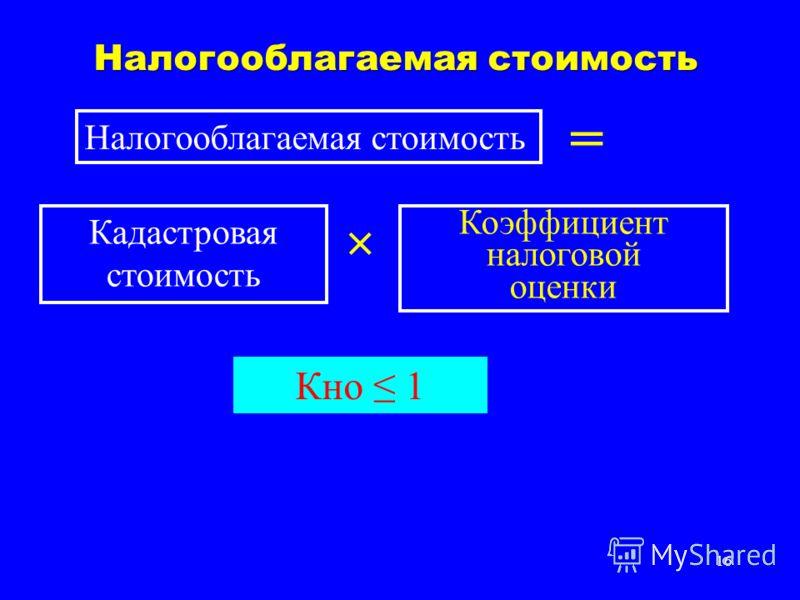 16 Налогооблагаемая стоимость = Кадастровая стоимость × Коэффициент налоговой оценки Кно 1
