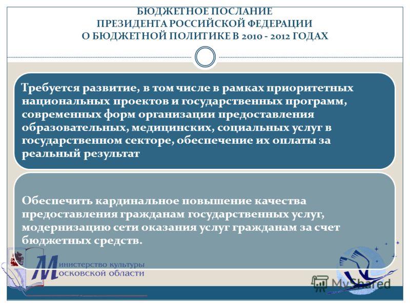 БЮДЖЕТНОЕ ПОСЛАНИЕ ПРЕЗИДЕНТА РОССИЙСКОЙ ФЕДЕРАЦИИ О БЮДЖЕТНОЙ ПОЛИТИКЕ В 2010 - 2012 ГОДАХ Требуется развитие, в том числе в рамках приоритетных национальных проектов и государственных программ, современных форм организации предоставления образовате