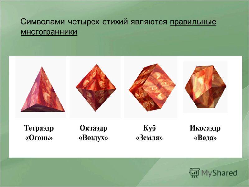 Символами четырех стихий являются правильные многогранники