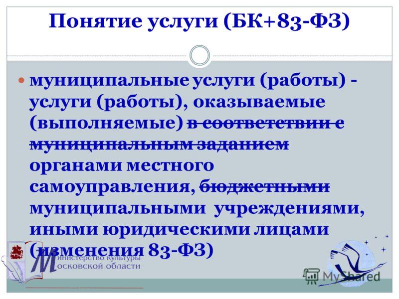 Понятие услуги (БК+83-ФЗ) муниципальные услуги (работы) - услуги (работы), оказываемые (выполняемые) в соответствии с муниципальным заданием органами местного самоуправления, бюджетными муниципальными учреждениями, иными юридическими лицами (изменени