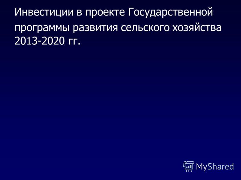 Инвестиции в проекте Государственной программы развития сельского хозяйства 2013-2020 гг.