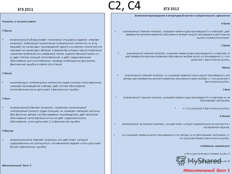 С2, С4 ЕГЭ 2011 Точность и полнота ответа 3 балла экзаменуемый обнаруживает понимание специфики задания: отвечает на вопрос, требующий привлечения литературного контекста, то есть называет не менее двух произведений одного или разных писателей или на