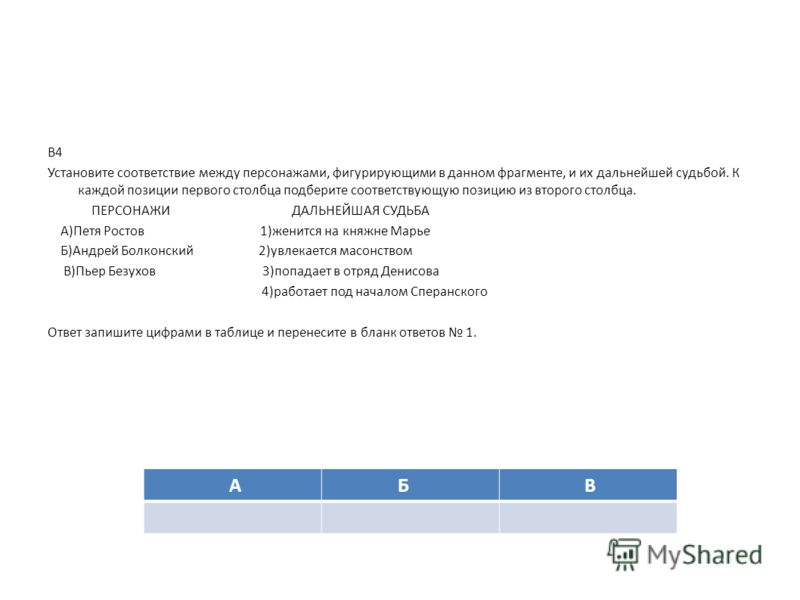 В4 Установите соответствие между персонажами, фигурирующими в данном фрагменте, и их дальнейшей судьбой. К каждой позиции первого столбца подберите соответствующую позицию из второго столбца. ПЕРСОНАЖИ ДАЛЬНЕЙШАЯ СУДЬБА А)Петя Ростов 1)женится на кня