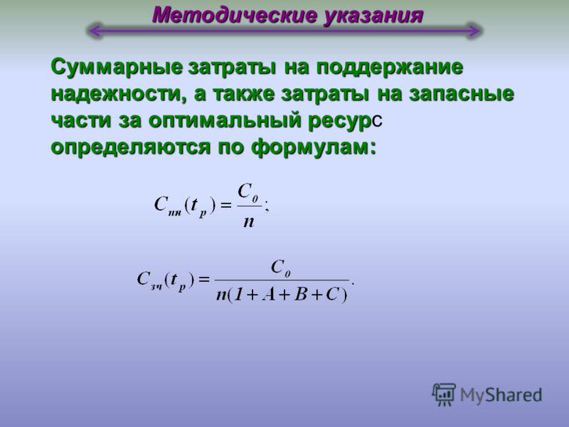 Угловой коэффициент кривой затрат на поддержание надежности у.е./ед. наработки. b пн = b зч (1+A+B+C) у.е./ед. наработки. Значение оптимального ресурса агрегата определяется по формуле