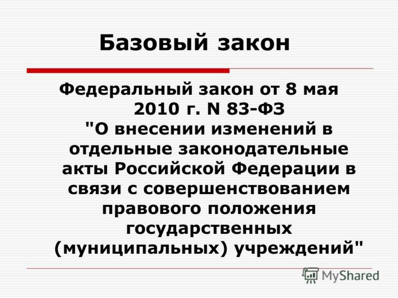 Базовый закон Федеральный закон от 8 мая 2010 г. N 83-ФЗ О внесении изменений в отдельные законодательные акты Российской Федерации в связи с совершенствованием правового положения государственных (муниципальных) учреждений