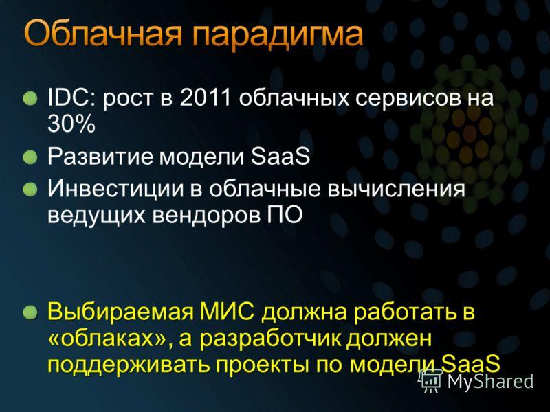 IDC: рост в 2011 облачных сервисов на 30% Развитие модели SaaS Инвестиции в облачные вычисления ведущих вендоров ПО Выбираемая МИС должна работать в «облаках», а разработчик должен поддерживать проекты по модели SaaS