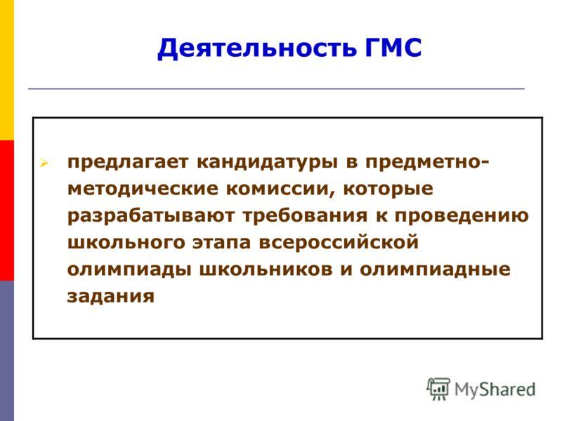 Проведение школьного и муниципального этапов всероссийской олимпиады школьников предлагает кандидатуры в предметно- методические комиссии, которые разрабатывают требования к проведению школьного этапа всероссийской олимпиады школьников и олимпиадные
