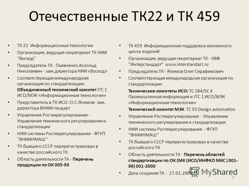 Отечественные ТК22 и ТК 459 ТК 22 Информационные технологии Организация, ведущая секретариат ТК НИИ