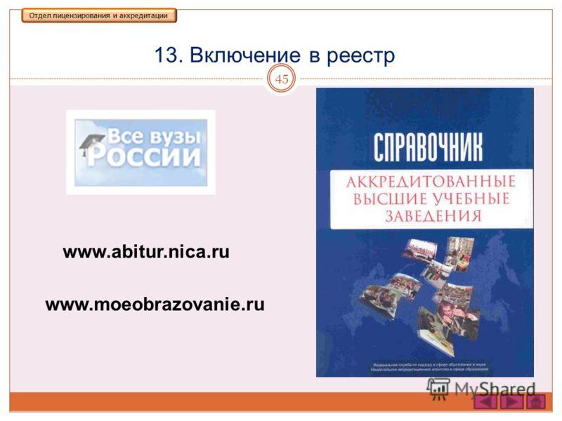 13. Включение в реестр 45 Отдел лицензирования и аккредитации www.abitur.nica.ru www.moeobrazovanie.ru