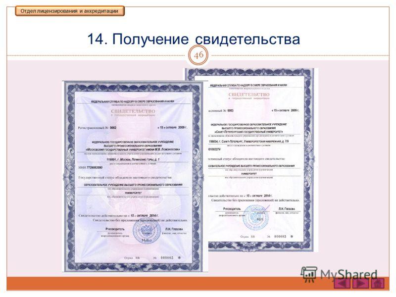 14. Получение свидетельства 46 Отдел лицензирования и аккредитации