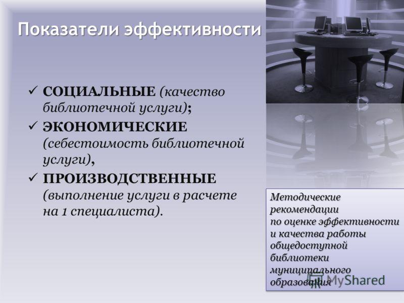 Показатели эффективности СОЦИАЛЬНЫЕ (качество библиотечной услуги); ЭКОНОМИЧЕСКИЕ (себестоимость библиотечной услуги), ПРОИЗВОДСТВЕННЫЕ (выполнение услуги в расчете на 1 специалиста). Методические рекомендации по оценке эффективности и качества работ