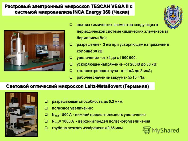 Растровый электронный микроскоп TESCAN VEGA II с системой микроанализа INCA Energy 350 (Чехия) анализ химических элементов следующих в периодической системе химических элементов за бериллием (Be); разрешение - 3 нм при ускоряющем напряжении в колонне