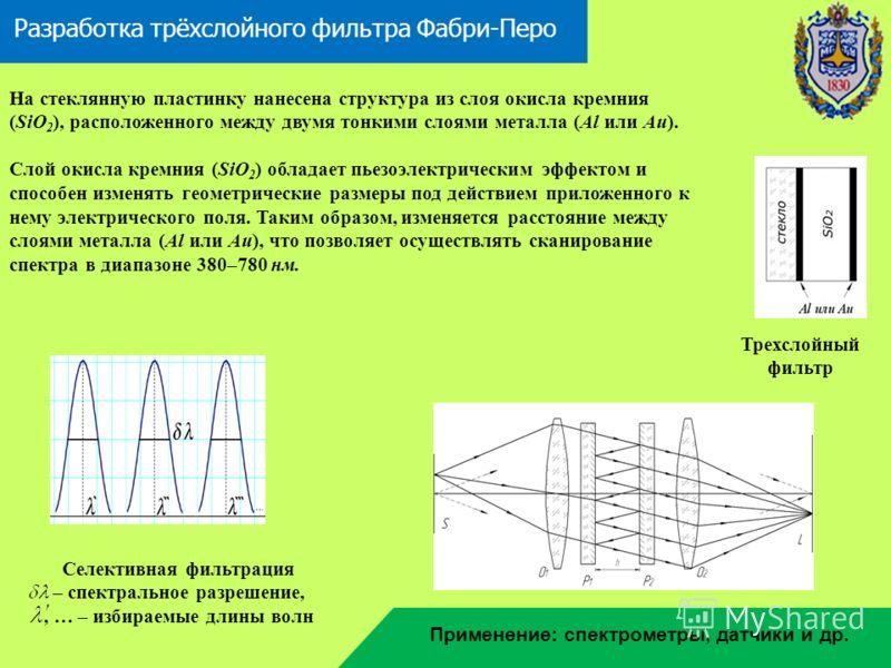 Разработка трёхслойного фильтра Фабри-Перо Трехслойный фильтр На стеклянную пластинку нанесена структура из слоя окисла кремния (SiO 2 ), расположенного между двумя тонкими слоями металла (Al или Au). Слой окисла кремния (SiO 2 ) обладает пьезоэлектр