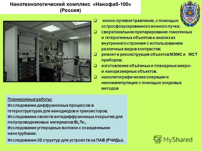 Нанотехнологический комплекс «Нанофаб-100» (Россия) ионно-лучевое травление, с помощью остросфокусированного ионного пучка; сверхлокальное препарирование гомогенных и гетерогенных объектов и анализ их внутреннего строения с использованием различных в