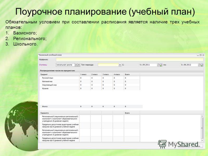 Поурочное планирование (учебный план) Обязательным условием при составлении расписания является наличие трех учебных планов: 1.Базисного; 2.Регионального; 3.Школьного.