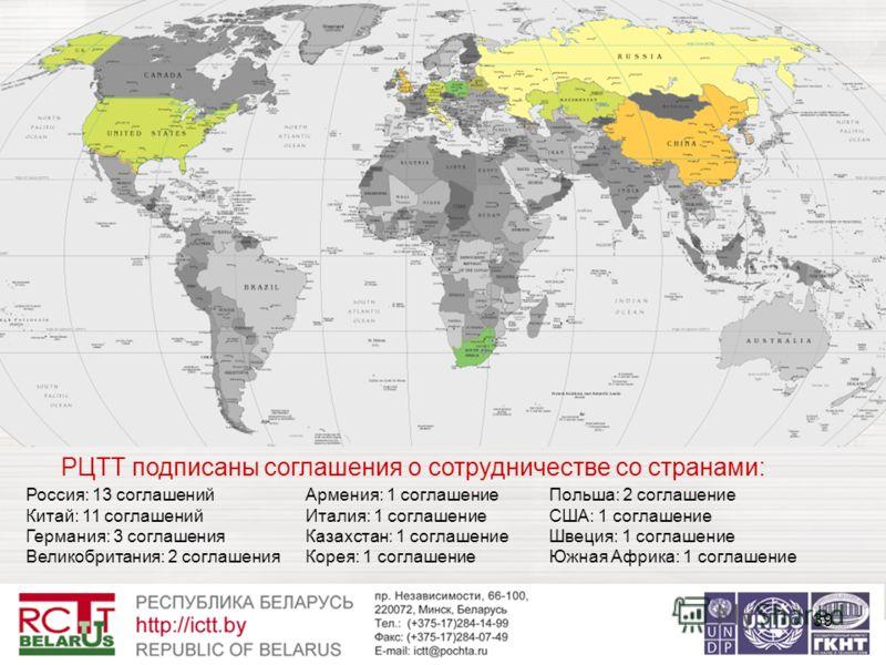39 РЦТТ подписаны соглашения о сотрудничестве со странами: Россия: 13 соглашений Китай: 11 соглашений Германия: 3 соглашения Великобритания: 2 соглашения Армения: 1 соглашение Италия: 1 соглашение Казахстан: 1 соглашение Корея: 1 соглашение Польша: 2