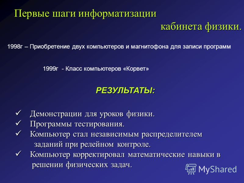 Первые шаги информатизации кабинета физики. кабинета физики. 1998г – Приобретение двух компьютеров и магнитофона для записи программ 1999г - Класс компьютеров «Корвет» РЕЗУЛЬТАТЫ: Демонстрации для уроков физики. Демонстрации для уроков физики. Програ
