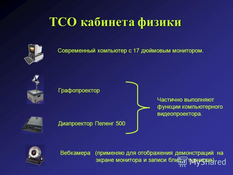ТСО кабинета физики Современный компьютер с 17 дюймовым монитором. Графопроектор Диапроектор Пеленг 500 Частично выполняют функции компьютерного видеопроектора. Вебкамера (применяю для отображения демонстраций на экране монитора и записи блиц – турни