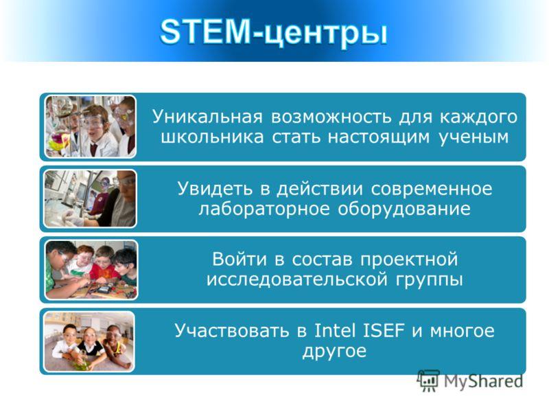 Уникальная возможность для каждого школьника стать настоящим ученым Увидеть в действии современное лабораторное оборудование Войти в состав проектной исследовательской группы Участвовать в Intel ISEF и многое другое