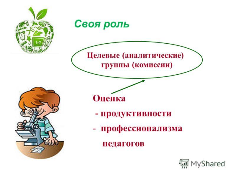 Оценка - продуктивности -профессионализма педагогов Своя роль Целевые (аналитические) группы (комиссии)