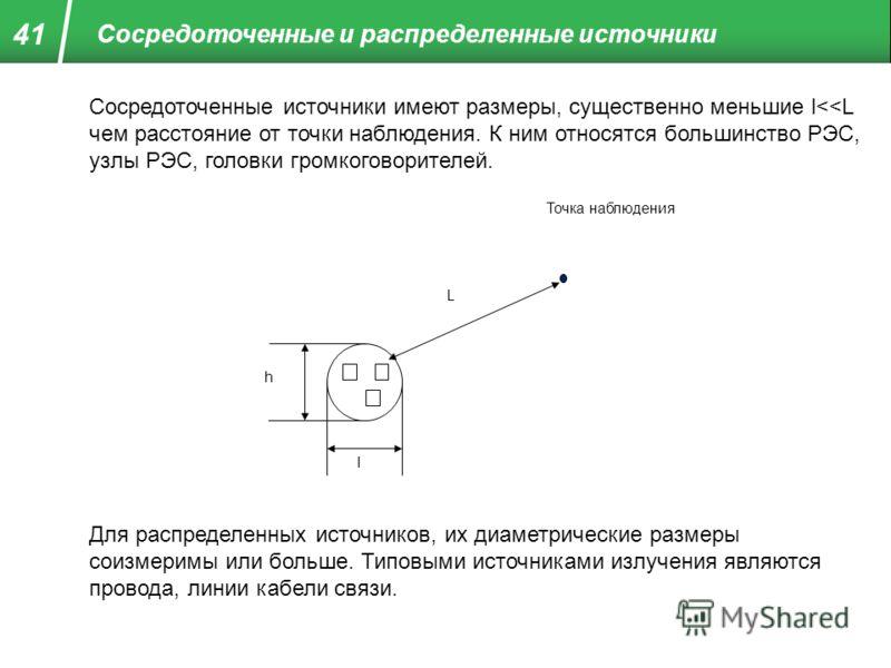 Сосредоточенные и распределенные источники Сосредоточенные источники имеют размеры, существенно меньшие l