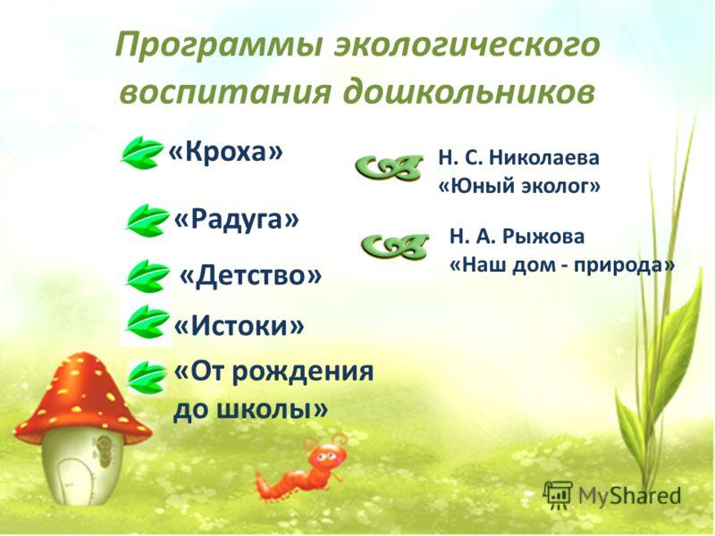 Программы экологического воспитания