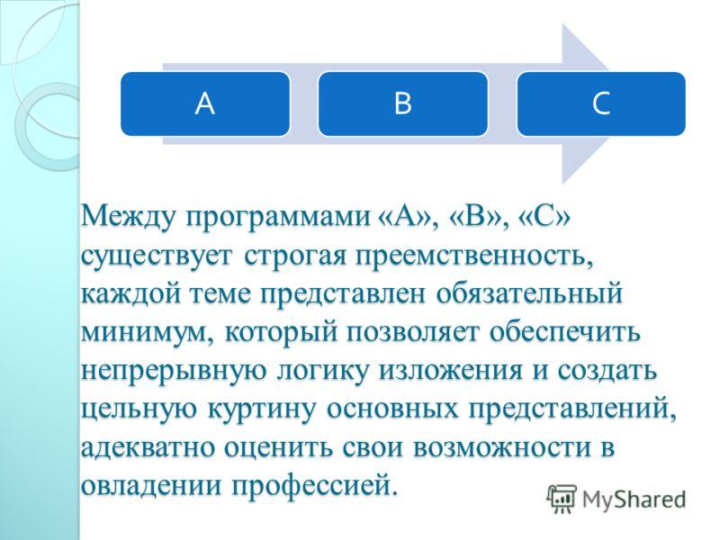 Между программами «А», «В», «С» существует строгая преемственность, каждой теме представлен обязательный минимум, который позволяет обеспечить непрерывную логику изложения и создать цельную куртину основных представлений, адекватно оценить свои возмо