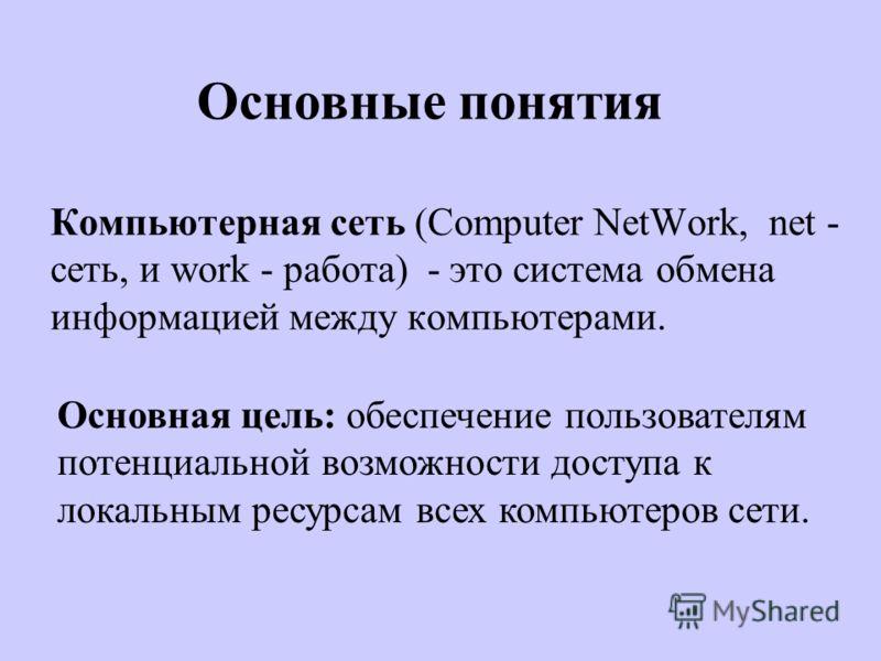 Компьютерная сеть (Computer NetWork, net - сеть, и work - работа) - это система обмена информацией между компьютерами. Основная цель: обеспечение пользователям потенциальной возможности доступа к локальным ресурсам всех компьютеров сети. Основные пон