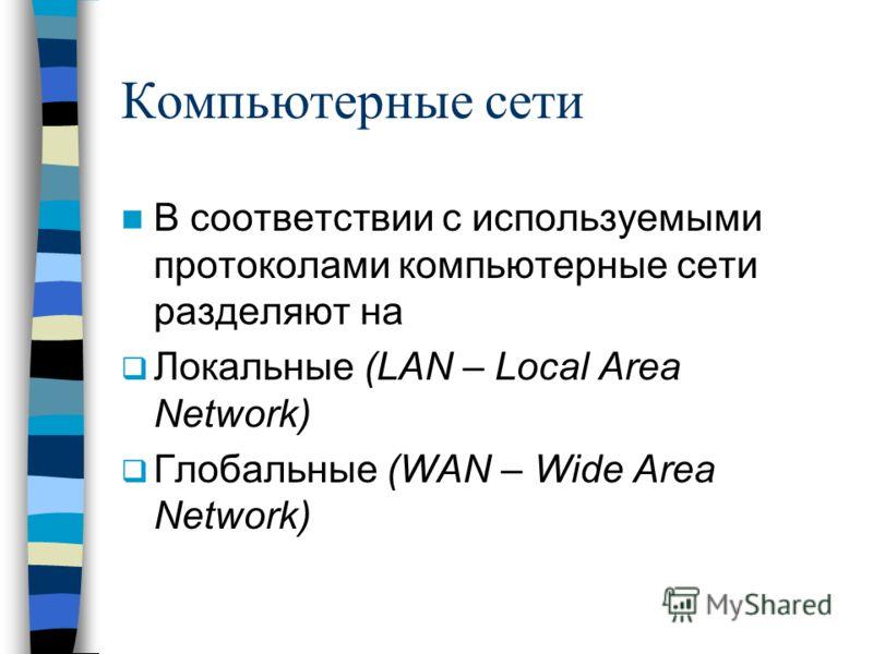 Компьютерные сети В соответствии с используемыми протоколами компьютерные сети разделяют на Локальные (LAN – Local Area Network) Глобальные (WAN – Wide Area Network)