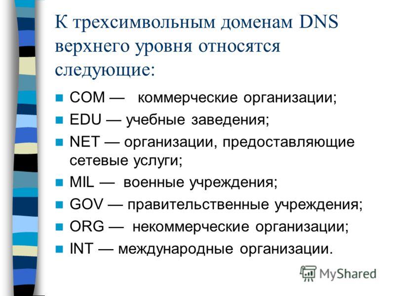 К трехсимвольным доменам DNS верхнего уровня относятся следующие: СОМ коммерческие организации; EDU учебные заведения; NET организации, предоставляющие сетевые услуги; MIL военные учреждения; GOV правительственные учреждения; ORG некоммерческие орган