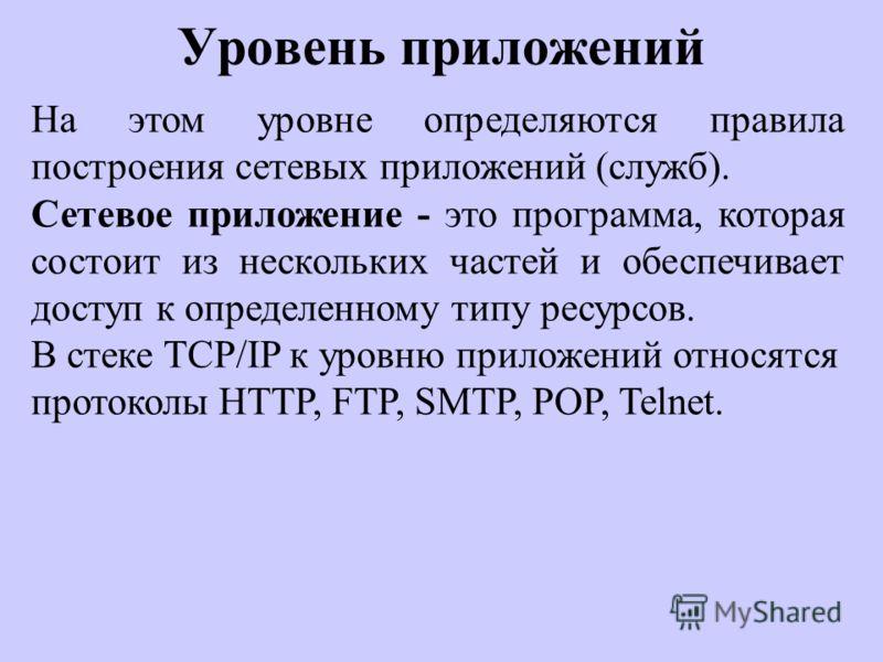Уровень приложений На этом уровне определяются правила построения сетевых приложений (служб). Сетевое приложение - это программа, которая состоит из нескольких частей и обеспечивает доступ к определенному типу ресурсов. В стеке TCP/IP к уровню прилож