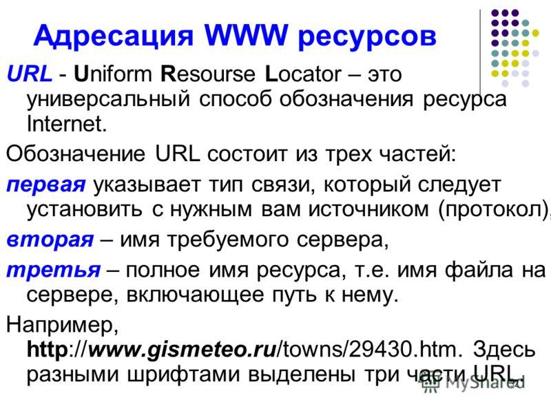 32 Адресация WWW ресурсов URL - Uniform Resourse Locator – это универсальный способ обозначения ресурса Internet. Обозначение URL состоит из трех частей: первая указывает тип связи, который следует установить с нужным вам источником (протокол), втора
