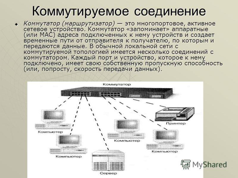 Коммутируемое соединение Коммутатор (маршрутизатор) это многопортовое, активное сетевое устройство. Коммутатор «запоминает» аппаратные (или MAC) адреса подключенных к нему устройств и создает временные пути от отправителя к получателю, по которым и п