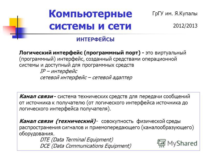 ГрГУ им. Я.Купалы 2012/2013 Компьютерные системы и сети ИНТЕРФЕЙСЫ Логический интерфейс (программный порт) - это виртуальный (программный) интерфейс, созданный средствами операционной системы и доступный для программных средств IP – интерфейс сетевой