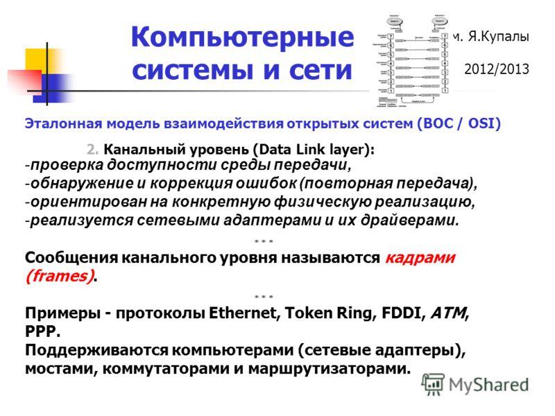 ГрГУ им. Я.Купалы 2012/2013 Компьютерные системы и сети 2. Канальный уровень (Data Link layer): Эталонная модель взаимодействия открытых систем (ВОС / OSI) -проверка доступности среды передачи, -обнаружение и коррекция ошибок (повторная передача), -о