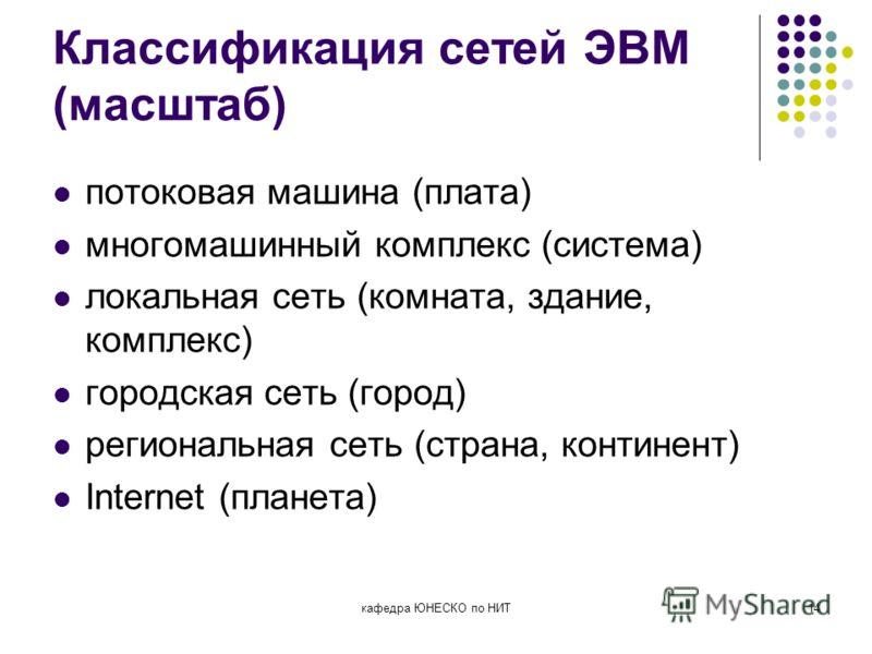 кафедра ЮНЕСКО по НИТ14 Классификация сетей ЭВМ (масштаб) потоковая машина (плата) многомашинный комплекс (система) локальная сеть (комната, здание, комплекс) городская сеть (город) региональная сеть (страна, континент) Internet (планета)