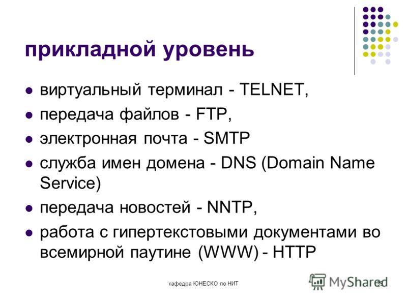 кафедра ЮНЕСКО по НИТ39 прикладной уровень виртуальный терминал - TELNET, передача файлов - FTP, электронная почта - SMTP служба имен домена - DNS (Domain Name Service) передача новостей - NNTP, работа с гипертекстовыми документами во всемирной паути