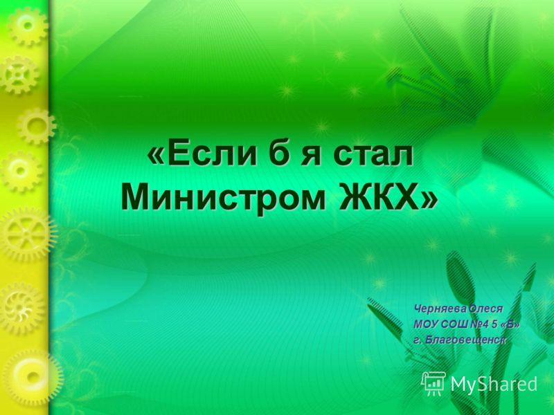 «Если б я стал Министром ЖКХ» Черняева Олеся МОУ СОШ 4 5 «Б» г. Благовещенск