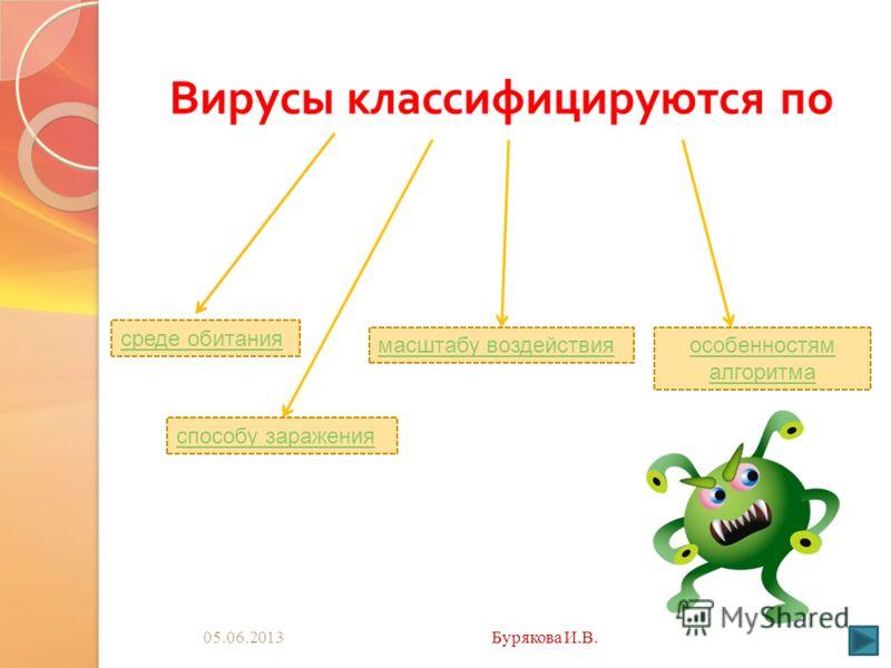 05.06.2013Бурякова И.В. Вирусы классифицируются по среде обитания способу заражения масштабу воздействияособенностям алгоритма