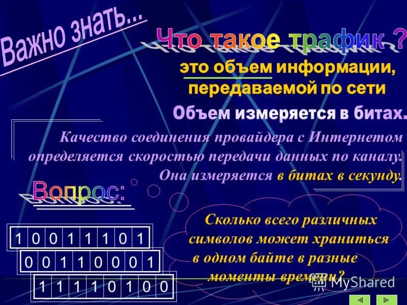 Качество соединения провайдера с Интернетом определяется скоростью передачи данных по каналу. Она измеряется в битах в секунду. Качество соединения провайдера с Интернетом определяется скоростью передачи данных по каналу. Она измеряется в битах в сек